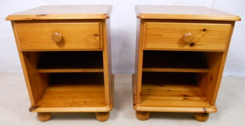 Pair Victorian Style Pine Bedside Chests